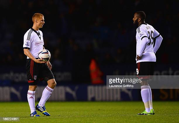 Steve Sidwell of Fulham looks dejected with Darren Bent after the fourth Leicester goal during the Capital One Cup fourth round match between...