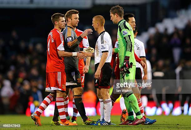 Steve Sidwell of Fulham shakes hands with Morgan Schneiderlin of Southampton after the Barclays Premier League match between Fulham and Southampton...