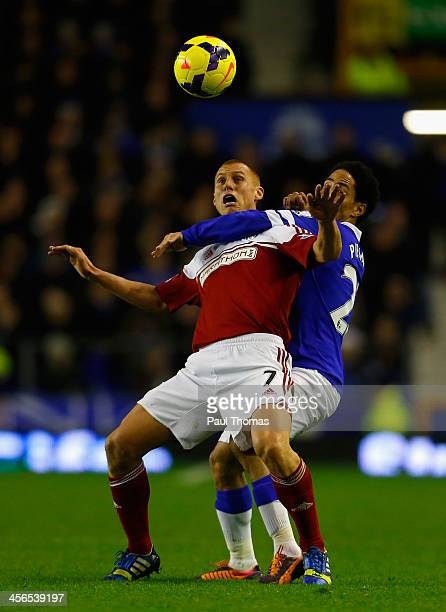 Steve Sidwell of Fulham tangles with Steven Pienaar of Everton during the Barclays Premier League match between Everton and Fulham at Goodison Park...