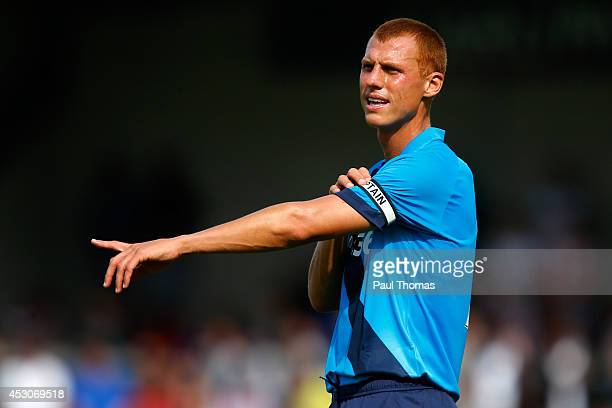 Steve Sidwell of Stoke gestures during the pre season friendly match between Burton Albion and Stoke City at the Pirelli Stadium on August 2 2014 in...