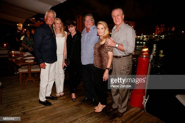 Steve Simon Blaine Trump Madeleine Arison Micky Arison and Chris and Pat Riley at Seasalt and Pepper restaurant on April 18 2014 in Miami Florida