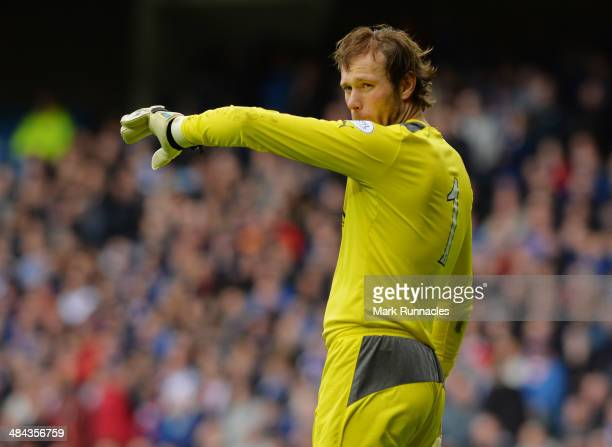 Steve Simonsen of Rangers reacts during the William Hill Scottish Cup Semi Final between Rangers and Dundee United at Ibrox Stadium on April 12 2014...