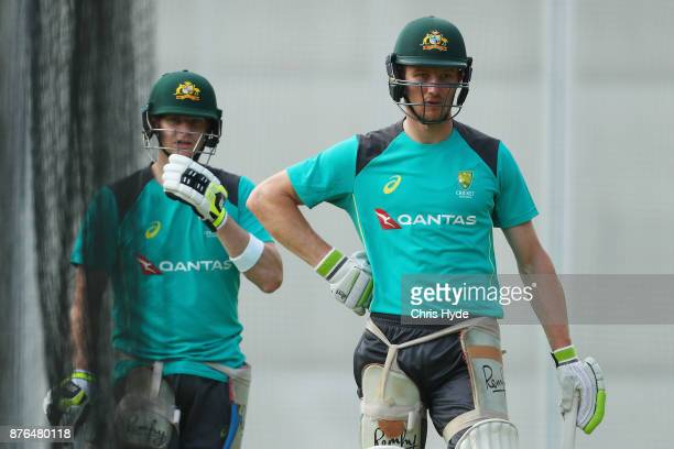Steve Smith and Cameron Bancroft look on during an Australia nets session at The Gabba on November 20 2017 in Brisbane Australia