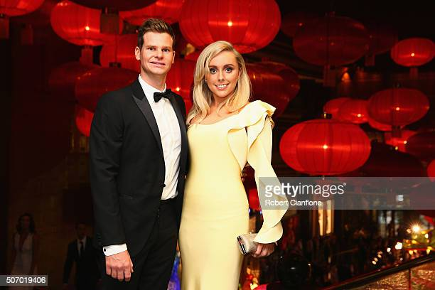 Steve Smith and Danielle Willis arrive at the 2016 Allan Border Medal ceremony at Crown Palladium on January 27 2016 in Melbourne Australia