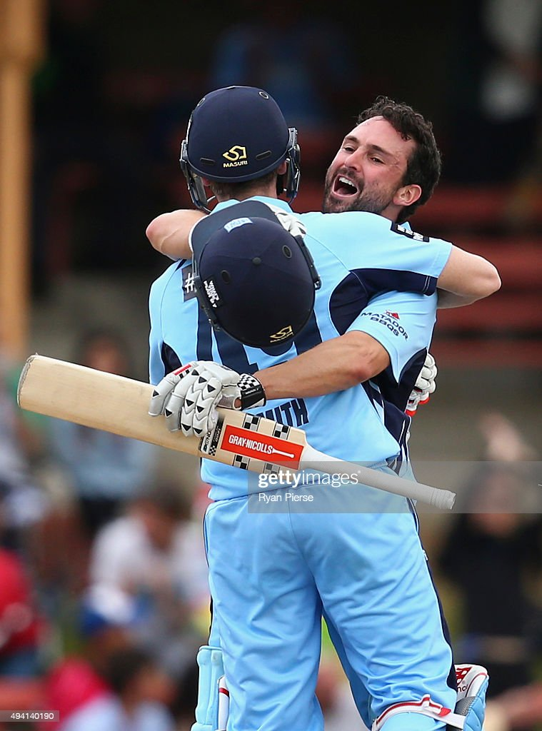 Steve Smith and <a gi-track='captionPersonalityLinkClicked' href=/galleries/search?phrase=Ed+Cowan&family=editorial&specificpeople=2207390 ng-click='$event.stopPropagation()'>Ed Cowan</a> of the Blues celebrate after hitting the winning runs during the Matador BBQs One Day Cup final match between New South Wales and South Australia at North Sydney Oval on October 25, 2015 in Sydney, Australia.