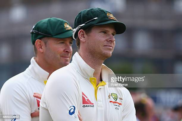 Steve Smith and Michael Clarke of Australia look on during the presentaion during day four of the 5th Investec Ashes Test match between England and...