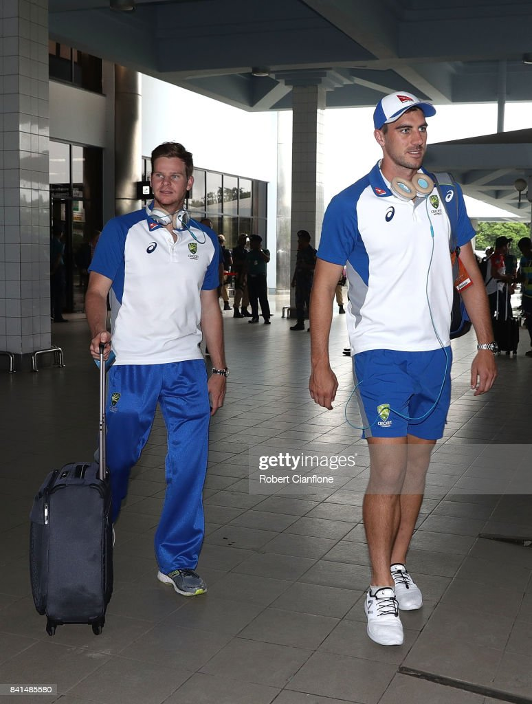 Steve Smith and Pat Cummins of Australia are seen as they arrive at Cittagong Airport for the second test againsts Bangladesh, on September 1, 2017 in Chittagong, Bangladesh.