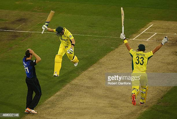 Steve Smith and Shane Watson of Australia celebrate after Australia defeated New Zealand during the 2015 ICC Cricket World Cup final match between...