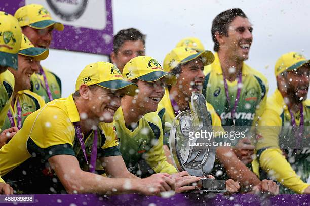 Steve Smith and the Australia team celebrate with the Trophy after victory in the 5th Royal London OneDay International match between England and...