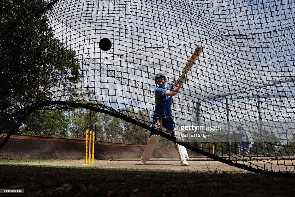 Steve Smith bats during an Australia Test cricket squad training session at Marrara Cricket Ground on August 13, 2017 in Darwin, Australia.
