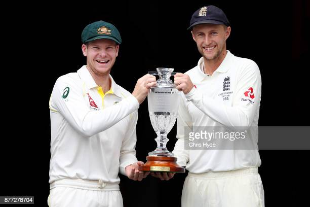 Steve Smith Captain of Australia and Joe Root Captain of England pose during a media opportunity ahead of the 2017/18 Ashes Series beginning tomorrow...