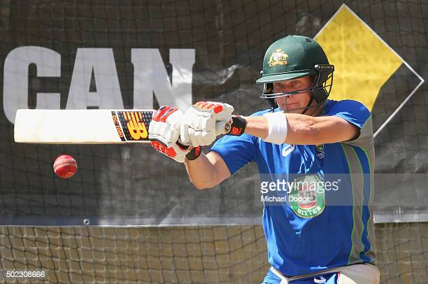 Steve Smith hits the ball during an Australian nets session at the Melbourne Cricket Ground on December 23 2015 in Melbourne Australia