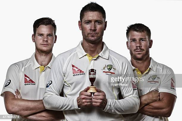 Steve Smith Michael Clarke and David Warner of Australia poses during an Australian Cricket Team Ashes portrait session on June 1 2015 in Roseau...