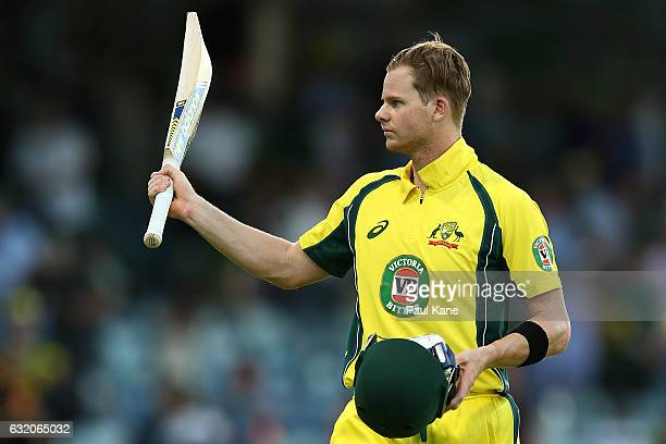 Steve Smith of Australia acknowledges the spectators after winning game three of the One Day International series between Australia and Pakistan at...