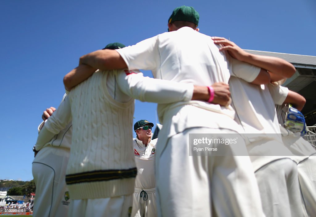 Steve Smith of Australia addresses his players during day three of the Test match between New Zealand and Australia at Basin Reserve on February 14, 2016 in Wellington, New Zealand.