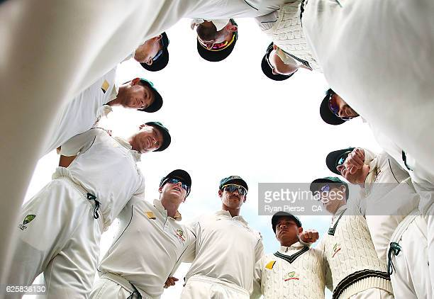 Steve Smith of Australia addresses his players during day three of the Third Test match between Australia and South Africa at Adelaide Oval on...