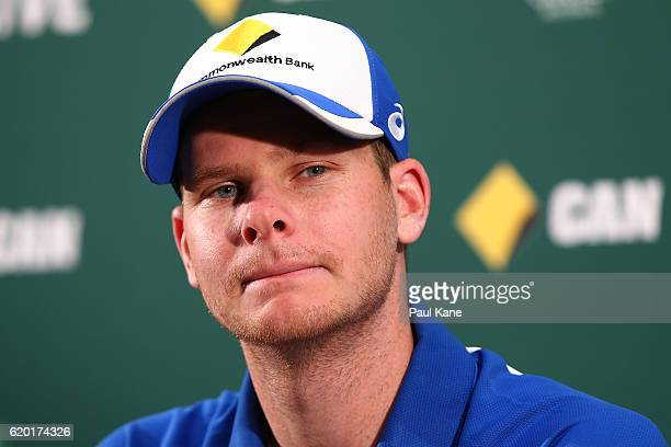 Steve Smith of Australia addresses the media at press conference following an Australian nets session at WACA on November 2 2016 in Perth Australia