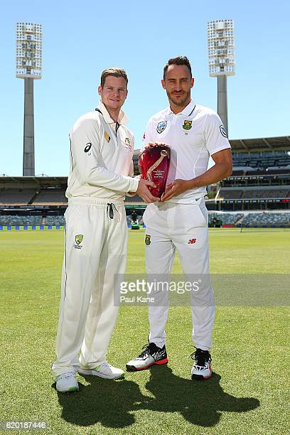 Steve Smith of Australia and Faf du Plessis of South Africa pose with the Test Series trophy at the WACA on November 2 2016 in Perth Australia