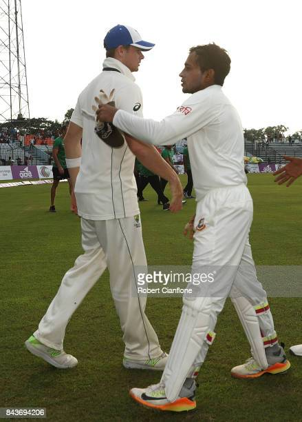 Steve Smith of Australia and Mushfiqur Rahim of Bangladesh shake hands after Australia defeated Bangladesh during day four of the Second Test match...