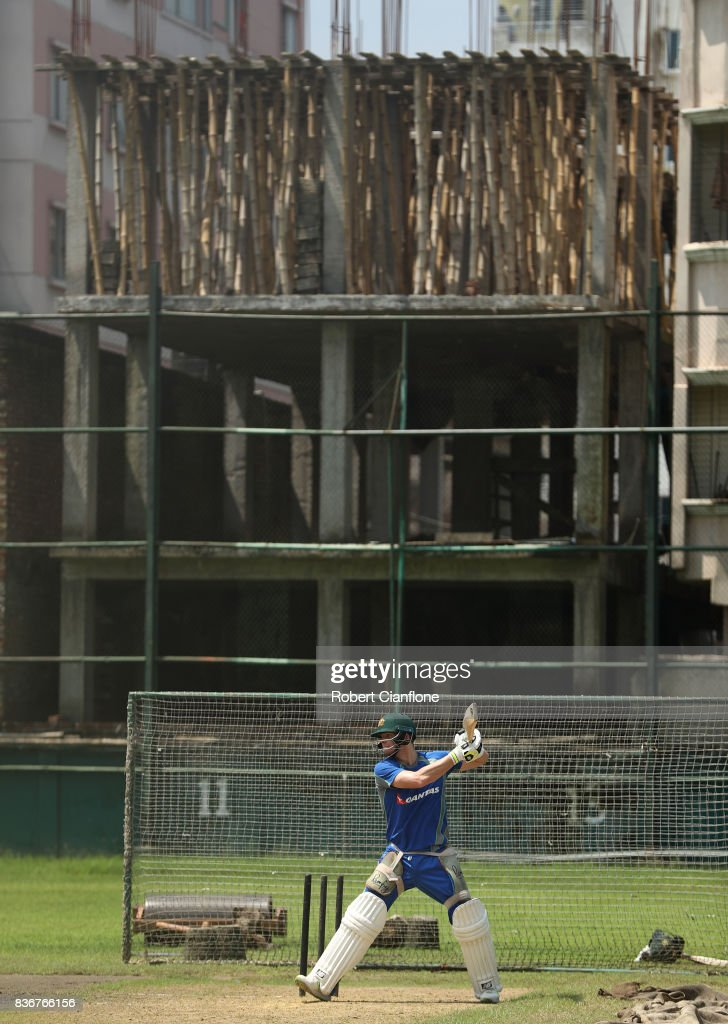 Steve Smith of Australia bats during an Australian Test team nets session at Sher-E Bangla National Cricket Stadium on August 22, 2017 in Dhaka, Bangladesh.
