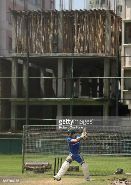 Steve Smith of Australia bats during an Australian Test team nets session at SherE Bangla National Cricket Stadium on August 22 2017 in Dhaka...