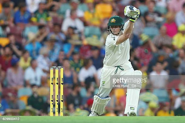 Steve Smith of Australia bats during day one of the First Test match between Australia and Pakistan at The Gabba on December 15 2016 in Brisbane...
