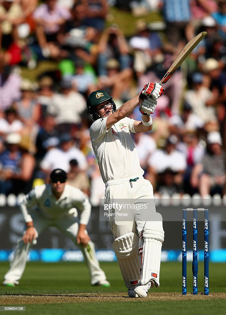 Steve Smith of Australia bats during day one of the Test match between New Zealand and Australia at Basin Reserve on February 12, 2016 in Wellington, New Zealand.