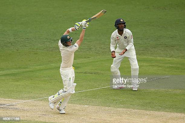 Steve Smith of Australia bats during day two of the 2nd Test match between Australia and India at The Gabba on December 18 2014 in Brisbane Australia