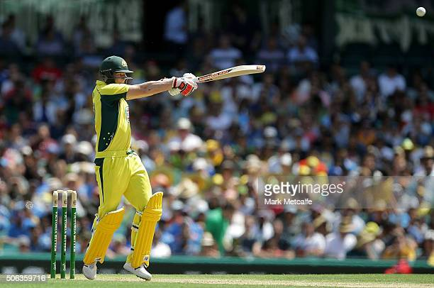 Steve Smith of Australia bats during game five of the Commonwealth Bank One Day Series match between Australia and India at Sydney Cricket Ground on...