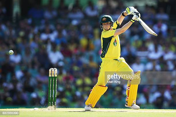 Steve Smith of Australia bats during game four of the One Day International series between Australia and Pakistan at Sydney Cricket Ground on January...