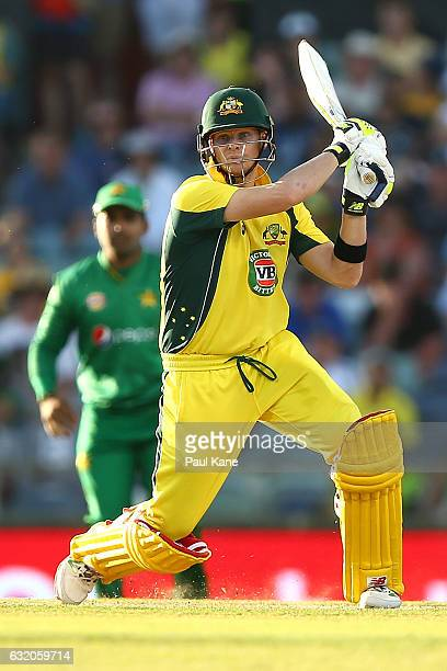 Steve Smith of Australia bats during game three of the One Day International series between Australia and Pakistan at WACA on January 19 2017 in...