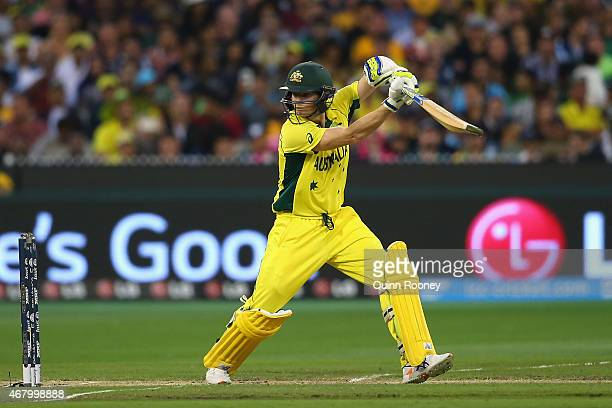 Steve Smith of Australia bats during the 2015 ICC Cricket World Cup final match between Australia and New Zealand at Melbourne Cricket Ground on...