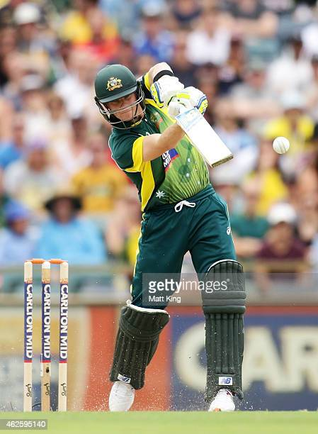 Steve Smith of Australia bats during the final match of the Carlton Mid One Day International series between Australia and England at WACA on...