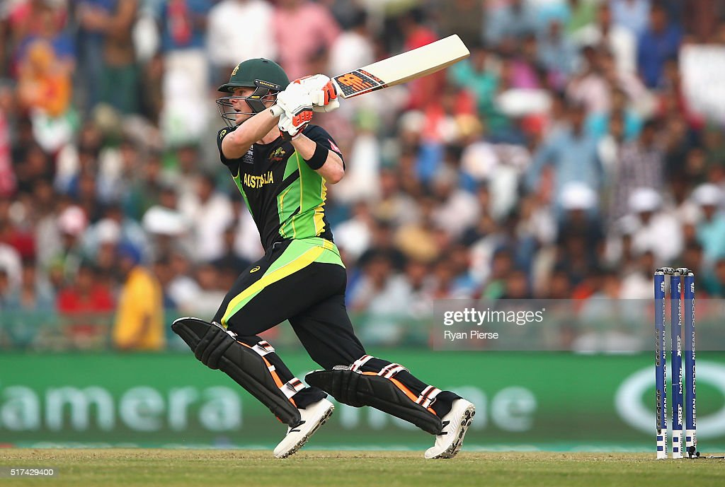 Steve Smith of Australia bats during the ICC WT20 India Group 2 match between Pakistan and Australia at IS Bindra Stadium on March 25 2016 in Mohali...