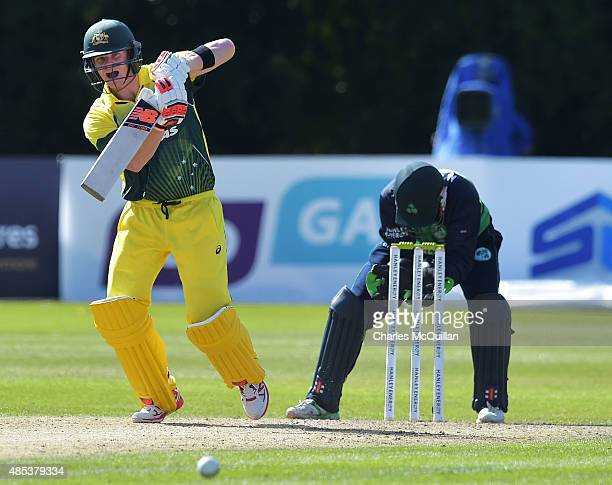 Steve Smith of Australia batting during the ODI cricket game between Ireland and Australia at Stormont cricket ground on August 27 2015 in Belfast...