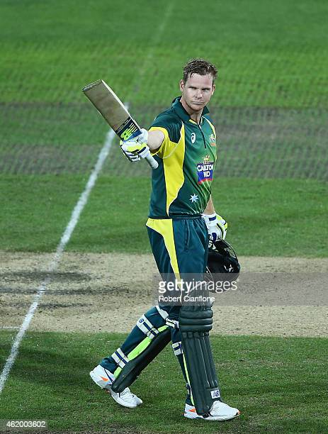 Steve Smith of Australia celebrates after reaching his century during the One Day International Tri Series match between Australia and England at...
