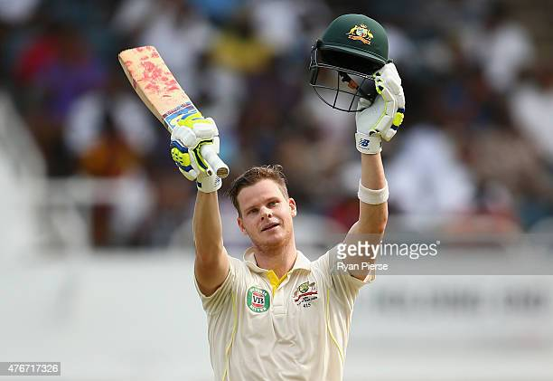 Steve Smith of Australia celebrates after reaching his century during day one of the Second Test match between Australia and the West Indies at...