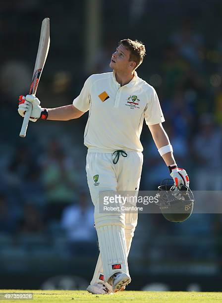 Steve Smith of Australia celebrates after reaching his century during day four of the second Test match between Australia and New Zealand at the WACA...