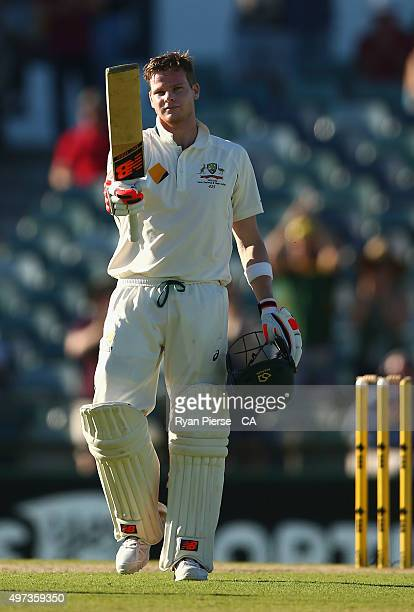 Steve Smith of Australia celebrates after reaching his century during day four of the second Test match between Australia and New Zealand at WACA on...