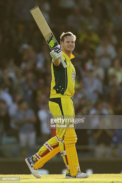 Steve Smith of Australia celebrates after reaching his century during game three of the One Day International series between Australia and Pakistan...