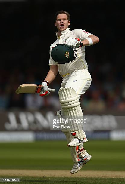 Steve Smith of Australia celebrates after reaching his double century during day two of the 2nd Investec Ashes Test match between England and...
