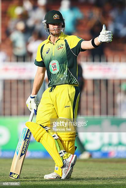 Steve Smith of Australia celebrates after reaching his half century during the first match of the one day international series between Australia and...