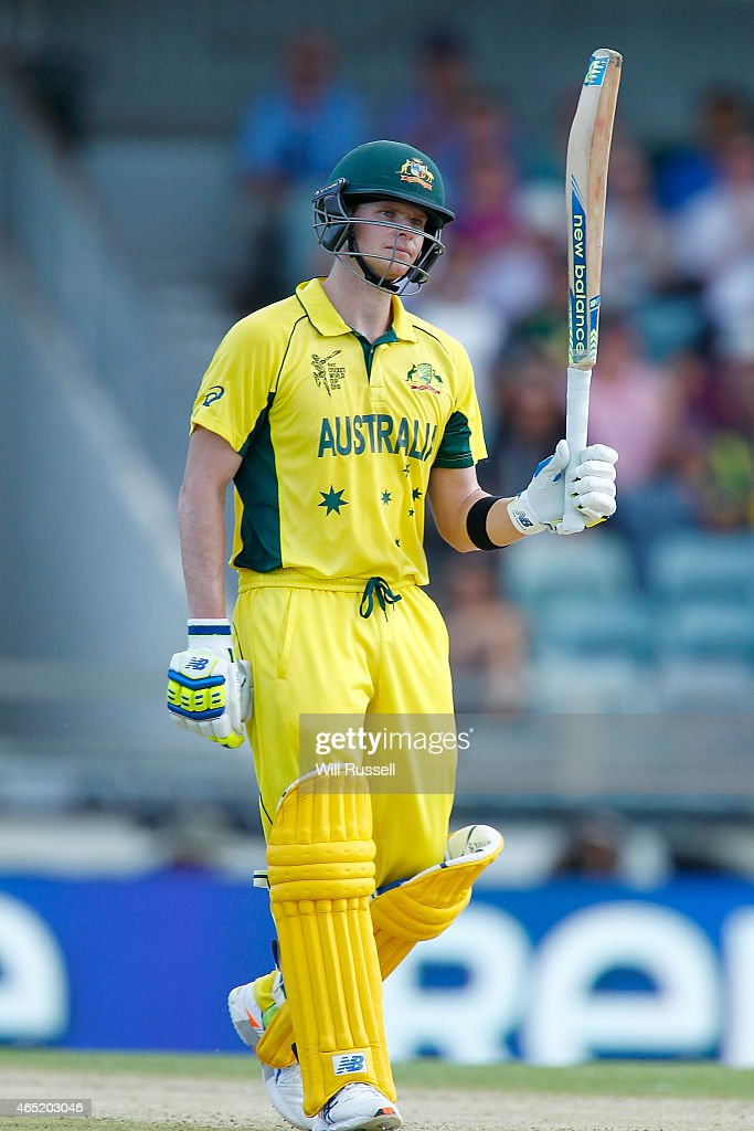 Steve Smith of Australia celebrates after reaching his half century during the 2015 ICC Cricket World Cup match between Australia and Afghanistan at...