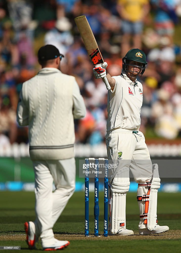 Steve Smith of Australia celebrates after reaching his half century during day one of the Test match between New Zealand and Australia at Basin Reserve on February 12, 2016 in Wellington, New Zealand.