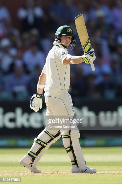 Steve Smith of Australia celebrates after scoring a half century during day two of the Third Test match between Australia and South Africa at...