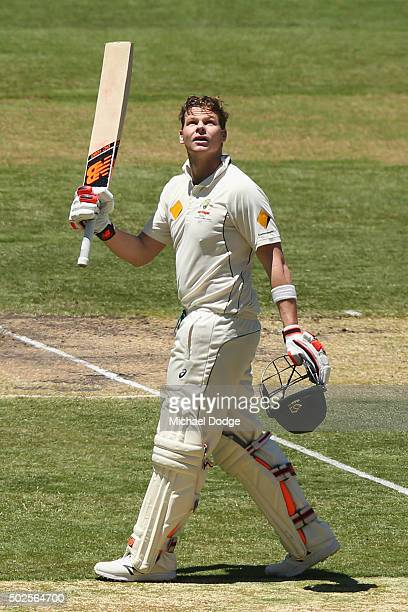Steve Smith of Australia celebrates his century during day two of the Second Test match between Australia and the West Indies at Melbourne Cricket...