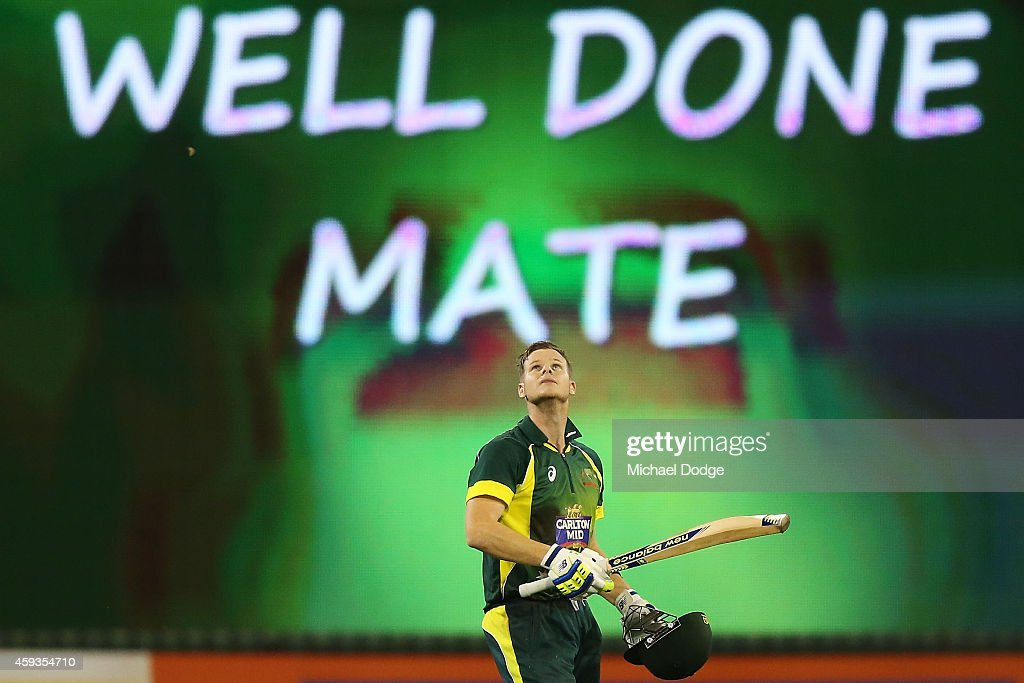Steve Smith of Australia celebrates his century during game four of the One Day International series between Australia and South Africa at Melbourne...
