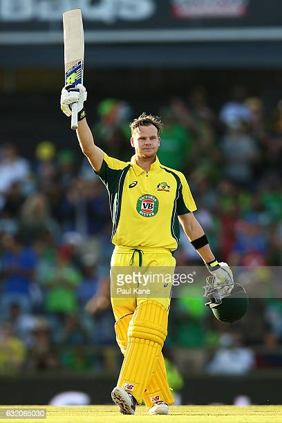 Steve Smith of Australia celebrates his century during game three of the One Day International series between Australia and Pakistan at WACA on...