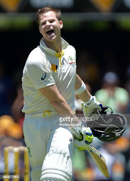 Steve Smith of Australia celebrates scoring a century during day three of the 2nd Test match between Australia and India at The Gabba on December 19...
