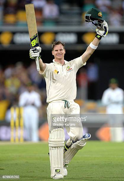 Steve Smith of Australia celebrates scoring a century during day one of the First Test match between Australia and Pakistan at The Gabba on December...
